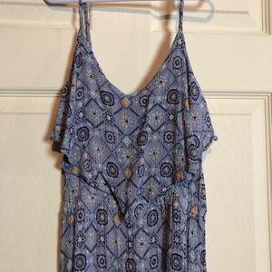 Long Maxi Dress Blue Patterned Mudd XS